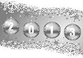 2013 new years decoration with christmas balls and snowflakes