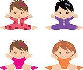 Set of little girls