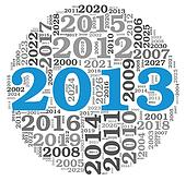 New year 2013 concept in number tag cloud