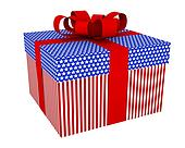 gift box with stars and stripes
