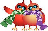 Christmas Cardinal Pair with Snowflake Scarf Illustration