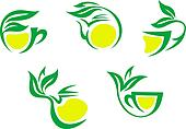 Tea cups symbols with lemon and green leaves