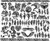 Dragons border frames Tattoo set