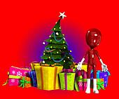 Blank Figure With Christmas Tree