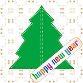 new year and christmas tree applique on vintage background
