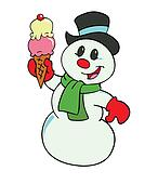 Snowman With Ice Cream