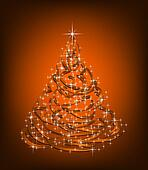 Abstract Christmas gold Tree. Vector