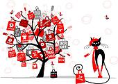 Season sale tree, fashion cat with shopping bag for your design