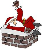 Santa stuck in a chimney