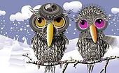 Lovebirds Keeping Warmth In Winter