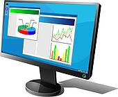 Black LCD monitor with graphs