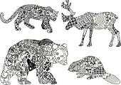 a set of drawings of animals in the