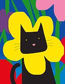 Cat with flower collar