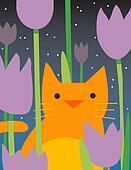 Yellow Cat Looks through plants