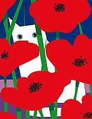 White cats & red flowers