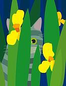 Gray cat in garden