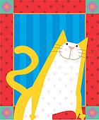 Yellow cat with dots