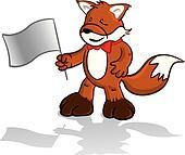 Cartoon fox holding a flag