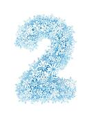 Number 2, frosty snowflakes