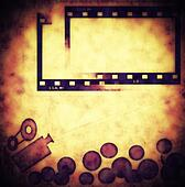 Cinema, old film strip frame