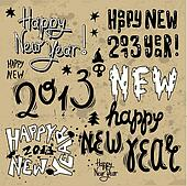 Happy New Year 2013 grunge text