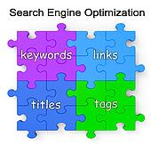 Search Engine Optimization Puzzle Shows Links And Tags