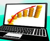 Money Increasing On Laptop Shows Business Incomes