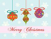 Merry Christmas Greeting Card Ornaments