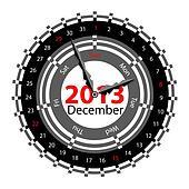 Creative idea of design of a Clock with circular calendar for 20