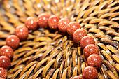 Close up view of brown bracelet