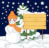 Snowman and billboard against the background of fir