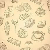 sweets hand drawn food set vector