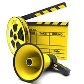 Movie clapper, megaphone and film s
