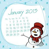 January 2013 snow man calendar