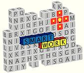 Illustration of word smartwork using alphabet(text) cubes. The g