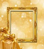 Abstract gold Christmas background With Frame and Gold Gift Box