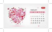 Vector calendar 2013, february. Art heart design