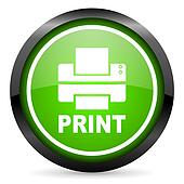 print green glossy icon on white background