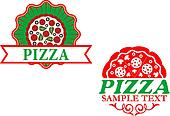 Italian pizza emblems and banners