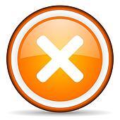 cancel orange glossy circle icon on white background