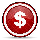 us dollar red glossy icon on white background
