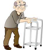 Old Man Using a Walker, illustration