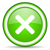 cancel green glossy icon on white background