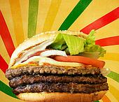 Hamburger against vintage striped background