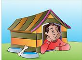 Man in a Dog House, illustration