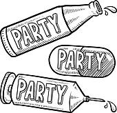 Drug and alcohol party sketch