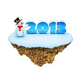 New Year 2013 little snowy levitate island / planet. A piece of land in the air.