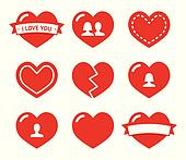 Love hearts icons set for Valentine