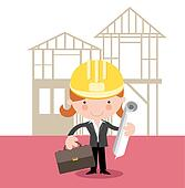Woman surveyor,inspector,builder,