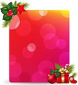 Blank Gift Tag With Gift Bow And Holly Berry